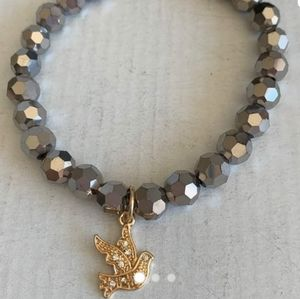 Beaded charm stretch bracelet slate